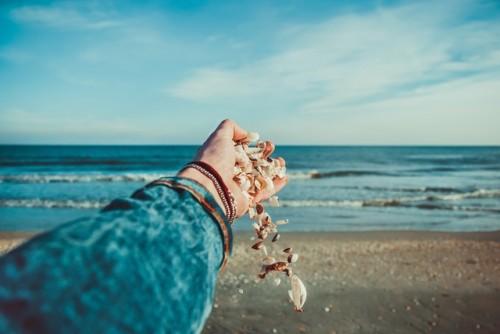 seashore  shells,  sky,  sunny , waves,  woman