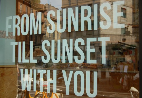 Sweet message displayed on glass window