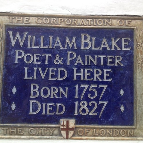 William Blake was born at 28 Broad Street, Golden Square, Soho, where his father had a hosiery business. He married Catherine Boucher, the illiterate daughter of a market gardener, in 1782 (25), and moved to Green Street, near Leicester Square. He died in 1827 (70), and was buried in an unmarked grave in the dissenter's graveyard in Bunhill Fields.