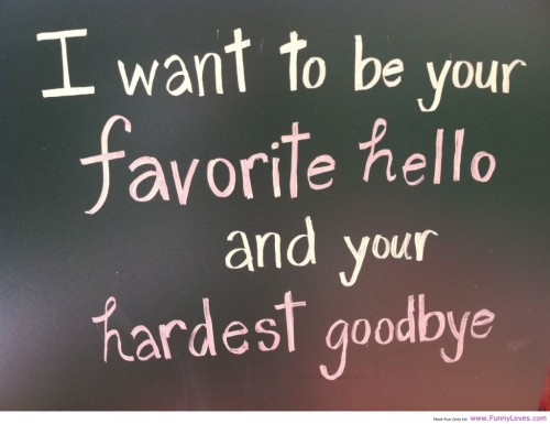 Amazing Love Quote: I want to be your favorite hello and your hardest goodbye.