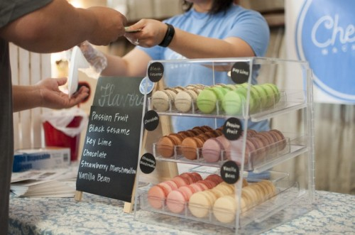 Key Lime, Black Sesame, Strawberry and Chocolate Macarons in Glass Display