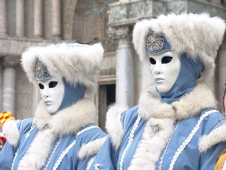 venice, italy, carnival ,blue color