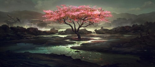 Pink tree painting