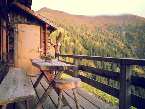 Cabin Balcony In Forest