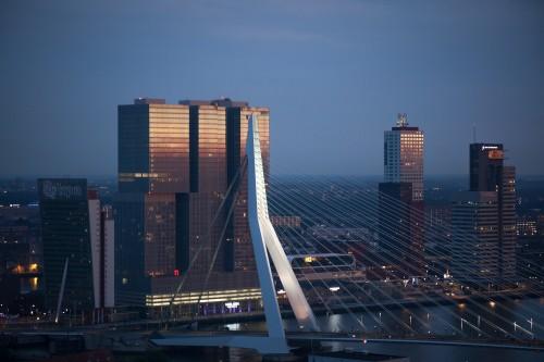 Elegant building architecture bridge in urban city