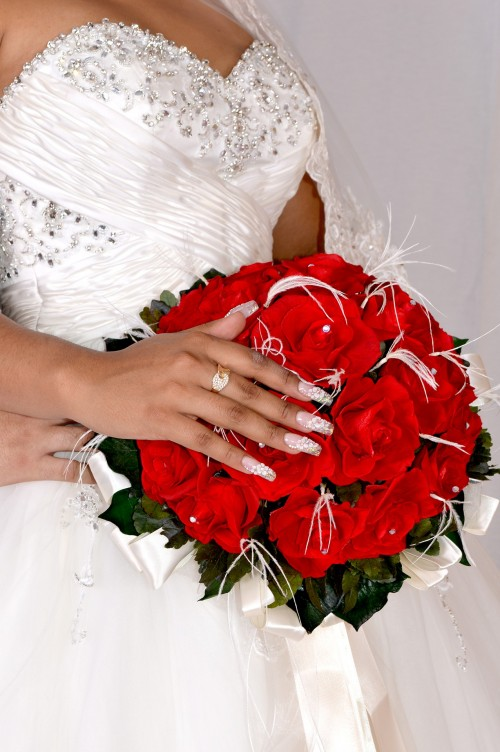 Happy Rose Day ,red flowers,white dress,nail art,manicure
