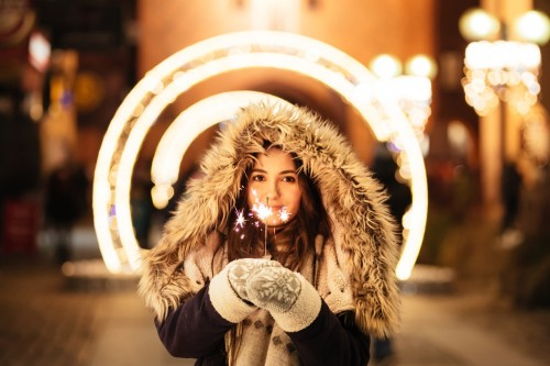 Christmas Celebration Fireworks, Fun girl lights fashion fireworks love portrait sparkling street