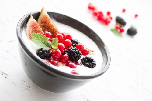 Healthy breakfast with Yogurt Fruits