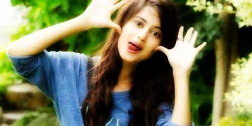 Beautiful girl in funny mood
