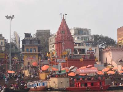 View of the temples from the Ghats while boating in the river