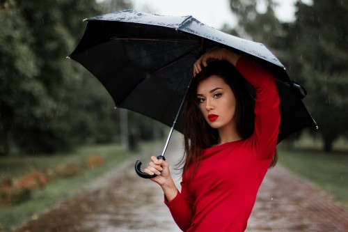Portrait of Woman With Umbrella