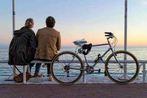 France Nice Provence Bicycle Lovers People Couple
