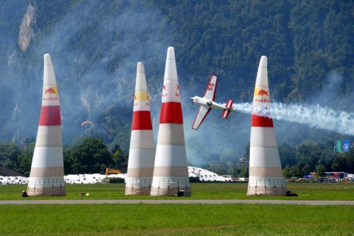 Red Bull Air Race are mostly held over water near cities ,natural wonders and races are  flown on weekends mostly .