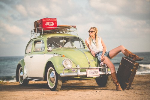 Woman Chilling Out Near Beetle Car,Green Beetle Car
