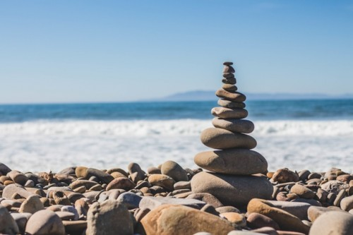 Tower of Pebbles Near Sea Shore