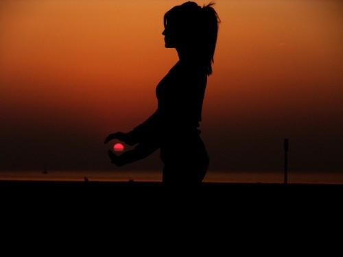 Beautiful  Sun Set  Scene Girl Holding In Hand