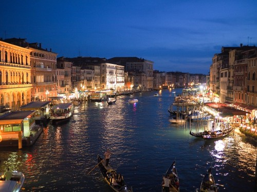 venice Grand Canal Italy Europe Night Illuminated