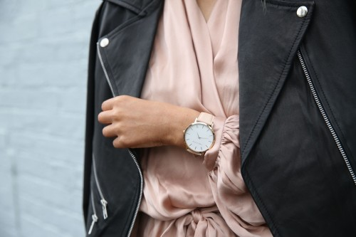 Stylish Jacket Accessorise With Elegant Wristwatch