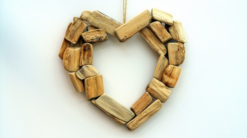 Heart made of wood blocks