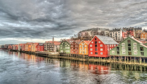 norway,trondheim, bridge,architecture, colorful, river,scandinavia,building, landmark,  europe, tourism,