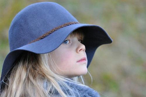 Child Girl With Blue Cap Girl Child Blond Hat View Self-Conscious Consider