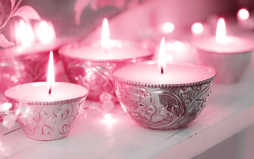 Home decor romantic pink light candles