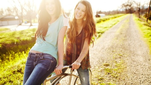 Road girls enjoying cycling